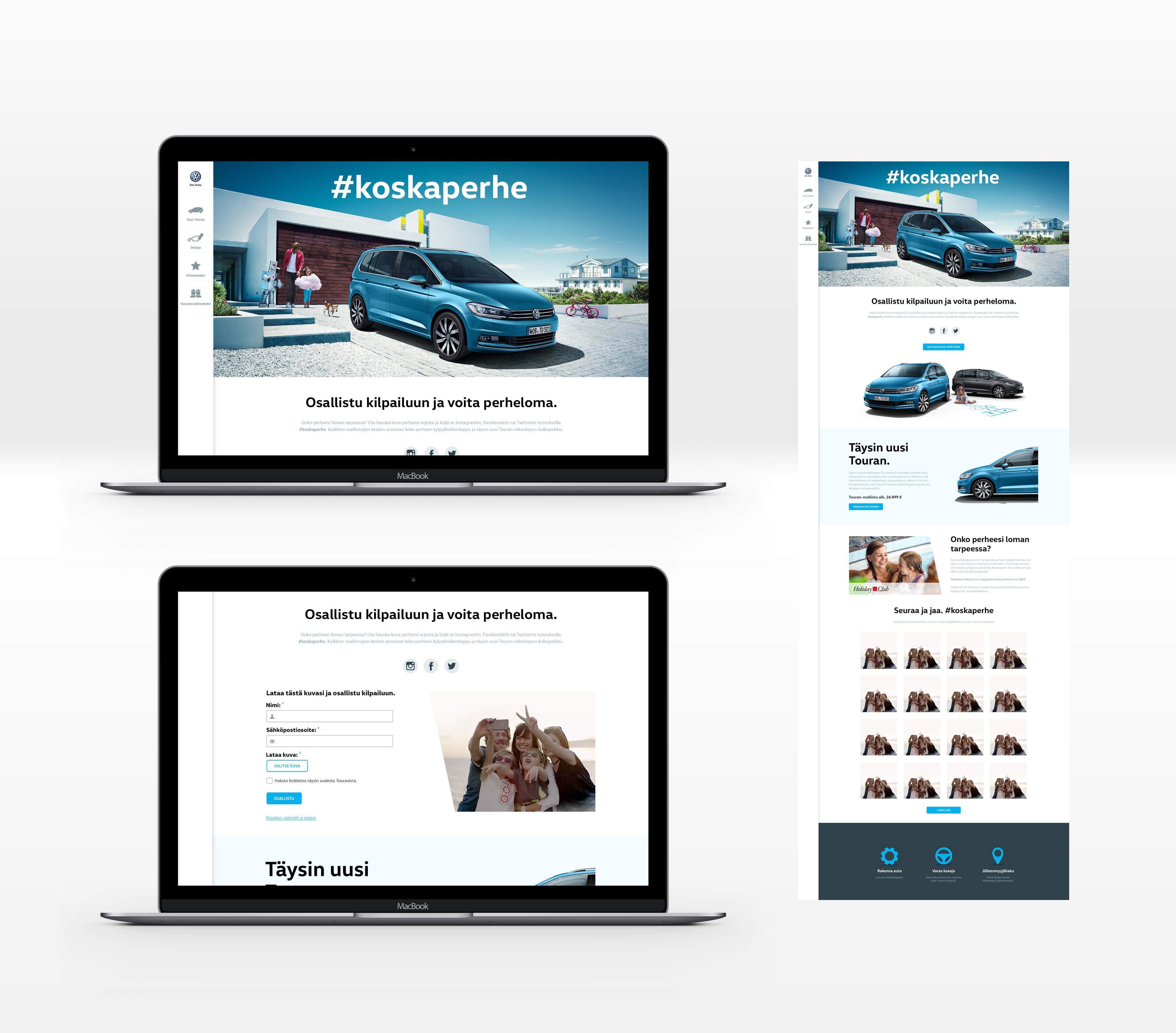 Volkswagen Touran Perhe campaign page