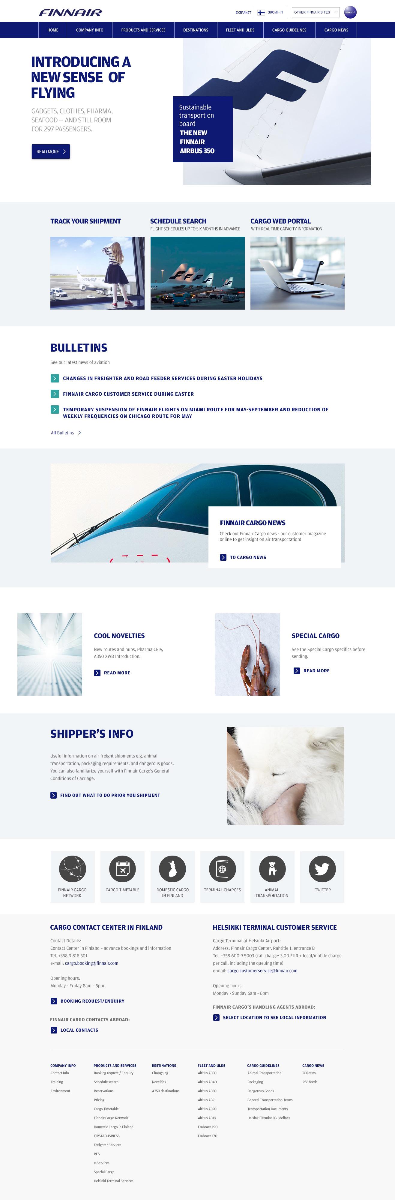 finnaircargo.com homepage