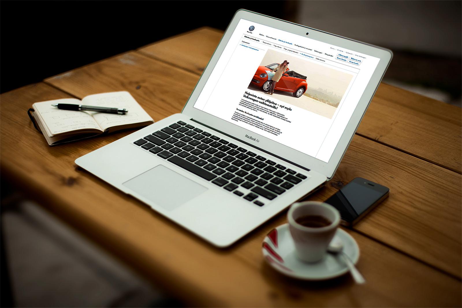 Volkswagen sähköautot site desktop mockup